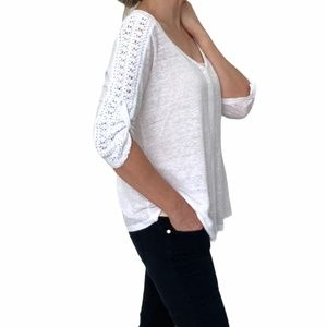Twig & Perch Ivory Linen V Neck Lace Sleeve Anthro